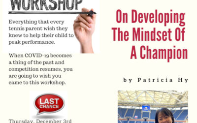 On Developing The Mindset Of A Champion – Workshop Tomorrow, Dec 3rd!